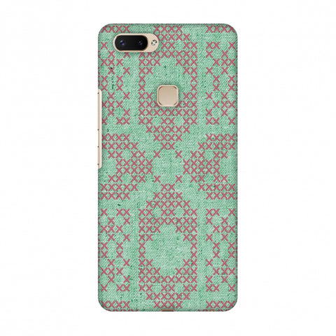 Cross Stitch Geometrics - Teal And Pink Slim Hard Shell Case For Vivo X20 Plus