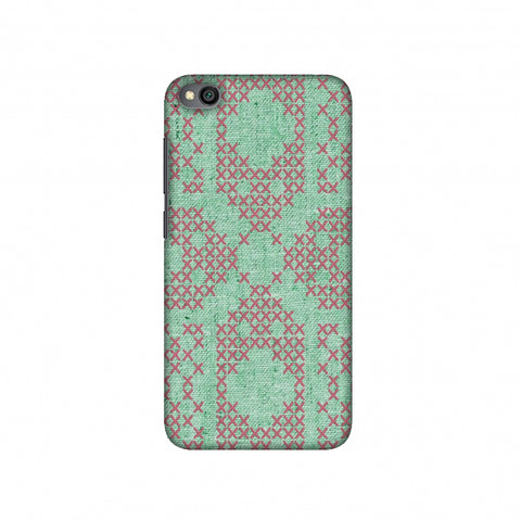 Cross Stitch Geometrics - Teal And Pink Slim Hard Shell Case For Redmi Go
