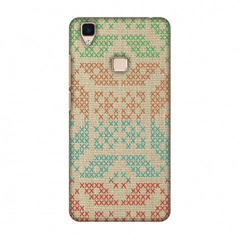 Cross Stitch Geometrics - Multicoloured Slim Hard Shell Case For Vivo V3
