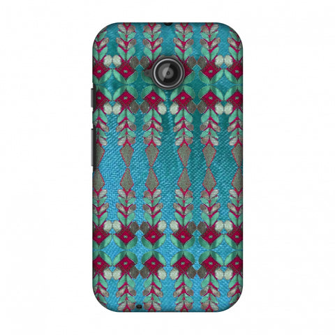Gotapatti Borders - Teal Slim Hard Shell Case For Motorola Moto E 2nd Gen