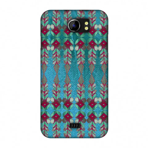 Gotapatti Borders - Teal Slim Hard Shell Case For Micromax Canvas 2 A110