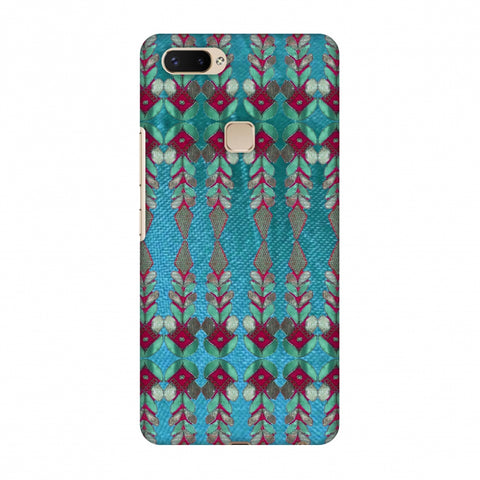 Gotapatti Borders - Teal Slim Hard Shell Case For Vivo X20 Plus