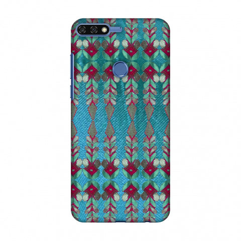 Gotapatti Borders - Teal Slim Hard Shell Case For Huawei Honor 7C