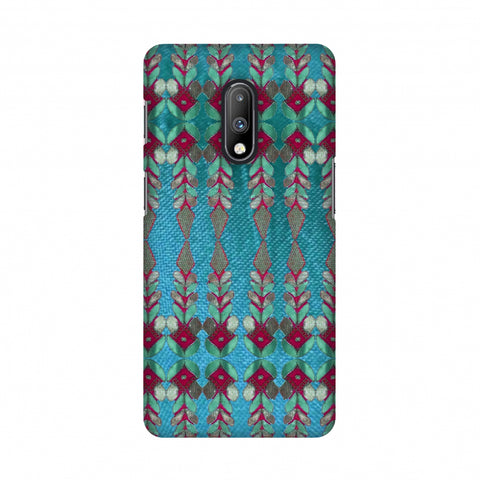 Gotapatti Borders - Teal Slim Hard Shell Case For OnePlus 7