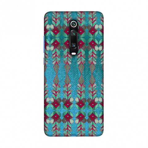 Gotapatti Borders - Teal Slim Hard Shell Case For Redmi K20/K20 Pro