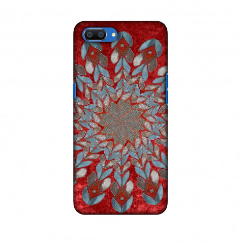 Gotapatti Florals - Rust Red Slim Hard Shell Case For Oppo Realme C1
