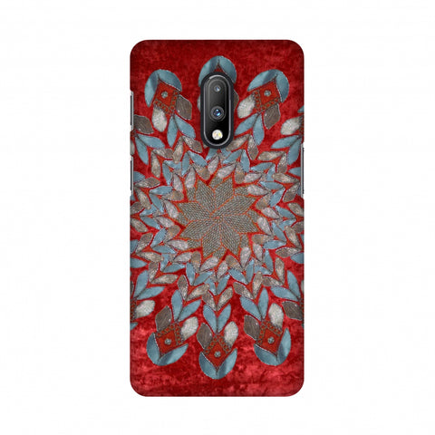 Gotapatti Florals - Rust Red Slim Hard Shell Case For OnePlus 7