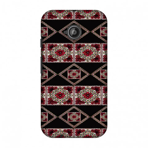 Kutch Embroidery - Deco Patterns - Red And Black Slim Hard Shell Case For Motorola Moto E 2nd Gen