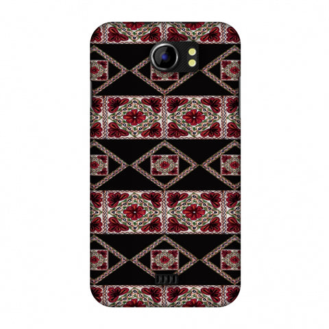 Kutch Embroidery - Deco Patterns - Red And Black Slim Hard Shell Case For Micromax Canvas 2 A110