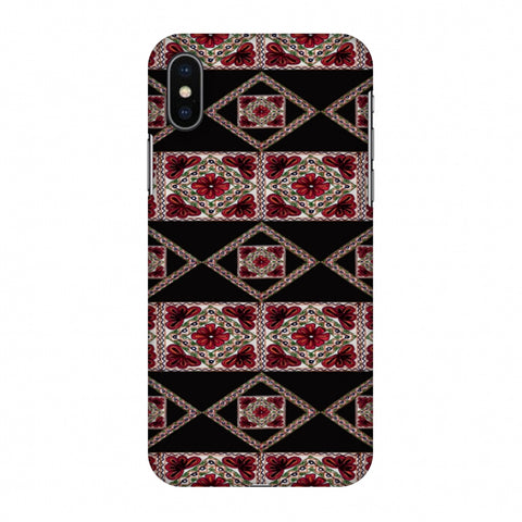 Kutch Embroidery - Deco Patterns - Red And Black Slim Hard Shell Case For Apple iPhone X
