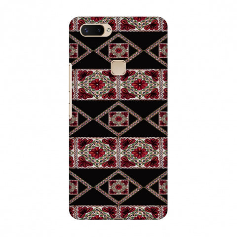 Kutch Embroidery - Deco Patterns - Red And Black Slim Hard Shell Case For Vivo X20 Plus