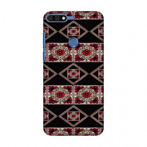 Kutch Embroidery - Deco Patterns - Red And Black Slim Hard Shell Case For Huawei Honor 7C