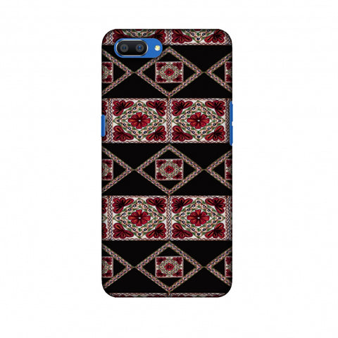 Kutch Embroidery - Deco Patterns - Red And Black Slim Hard Shell Case For Oppo Realme C1