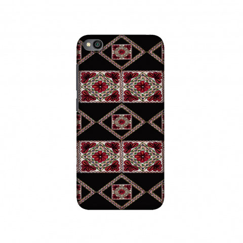 Kutch Embroidery - Deco Patterns - Red And Black Slim Hard Shell Case For Redmi Go