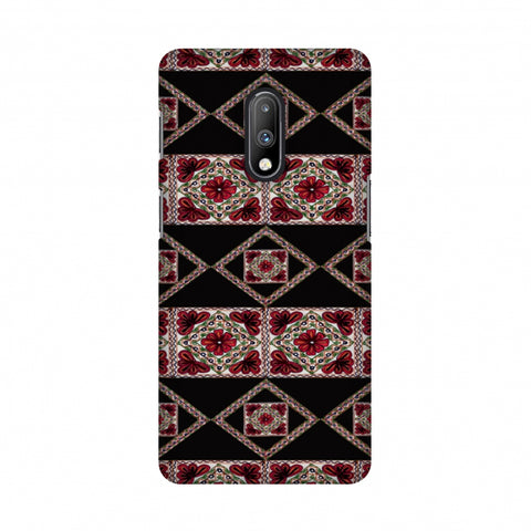 Kutch Embroidery - Deco Patterns - Red And Black Slim Hard Shell Case For OnePlus 7