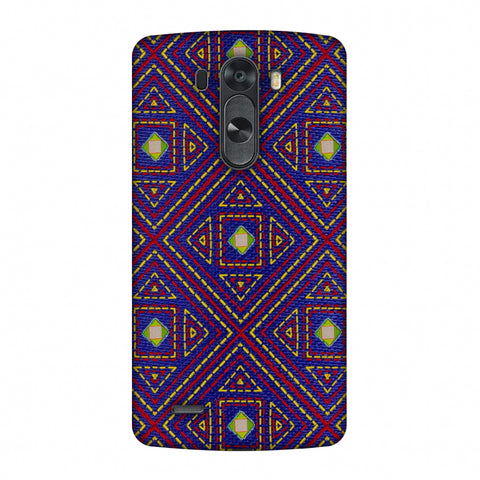 Geometric Kantha And Gujarati Mirrorwork - Indigo And Pink Slim Hard Shell Case For LG G4