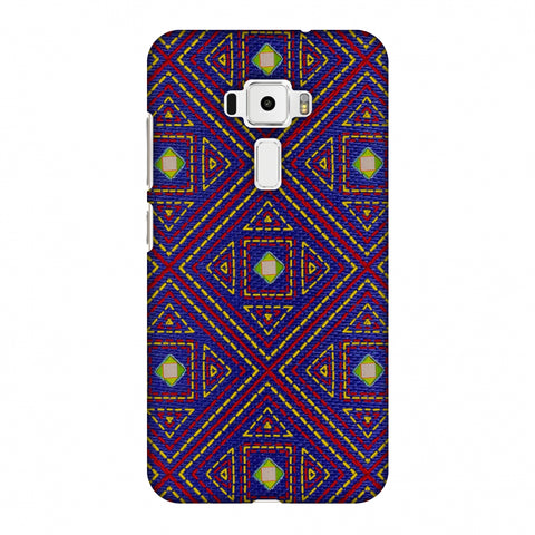 Geometric Kantha And Gujarati Mirrorwork - Indigo And Pink Slim Hard Shell Case For Asus Zenfone 3 ZE520KL