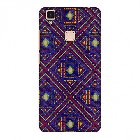 Geometric Kantha And Gujarati Mirrorwork - Indigo And Pink Slim Hard Shell Case For Vivo V3 Max