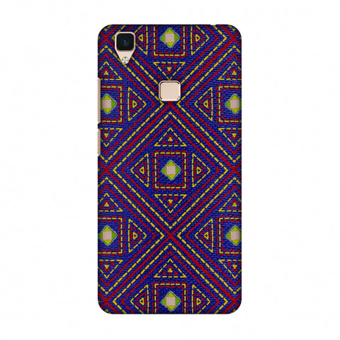 Geometric Kantha And Gujarati Mirrorwork - Indigo And Pink Slim Hard Shell Case For Vivo V3