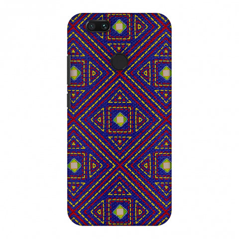 Geometric Kantha And Gujarati Mirrorwork - Indigo And Pink Slim Hard Shell Case For Xiaomi MI A1-5X