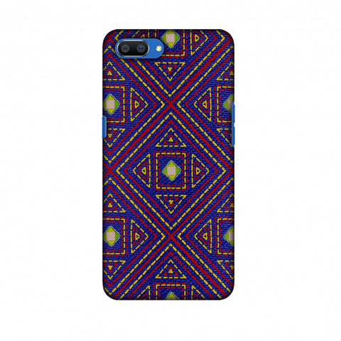 Geometric Kantha And Gujarati Mirrorwork - Indigo And Pink Slim Hard Shell Case For Oppo Realme C1