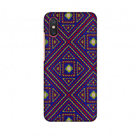 Geometric Kantha And Gujarati Mirrorwork - Indigo And Pink Slim Hard Shell Case For Xiaomi Mi 8 Pro