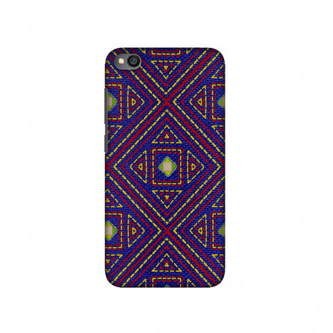 Geometric Kantha And Gujarati Mirrorwork - Indigo And Pink Slim Hard Shell Case For Redmi Go