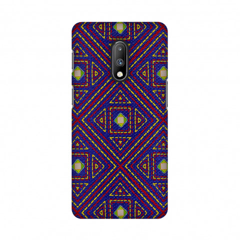 Geometric Kantha And Gujarati Mirrorwork - Indigo And Pink Slim Hard Shell Case For OnePlus 7