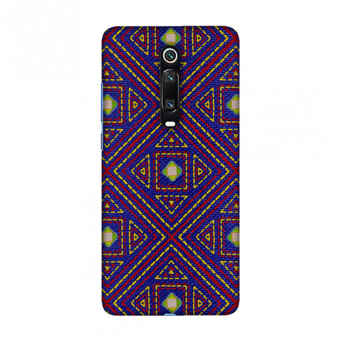 Geometric Kantha And Gujarati Mirrorwork - Indigo And Pink Slim Hard Shell Case For Redmi K20/K20 Pro
