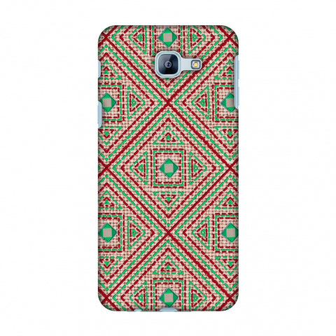 Geometric Kantha And Gujarati Mirrorwork - Beige And Red Slim Hard Shell Case For Samsung Galaxy A8 2016