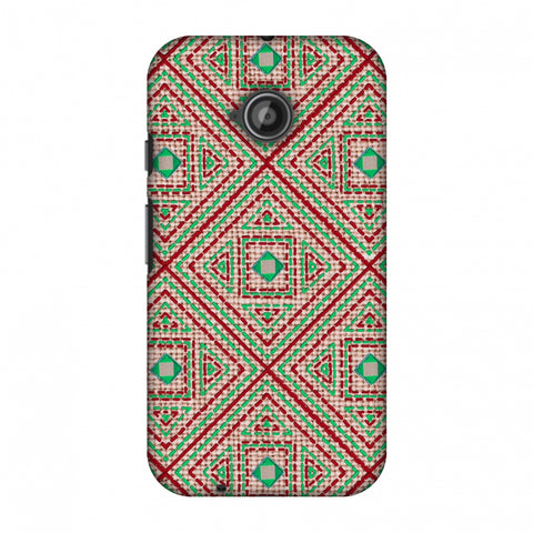 Geometric Kantha And Gujarati Mirrorwork - Beige And Red Slim Hard Shell Case For Motorola Moto E 2nd Gen