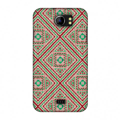 Geometric Kantha And Gujarati Mirrorwork - Beige And Red Slim Hard Shell Case For Micromax Canvas 2 A110