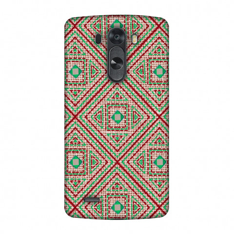 Geometric Kantha And Gujarati Mirrorwork - Beige And Red Slim Hard Shell Case For LG G4