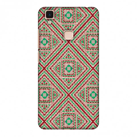Geometric Kantha And Gujarati Mirrorwork - Beige And Red Slim Hard Shell Case For Vivo V3 Max