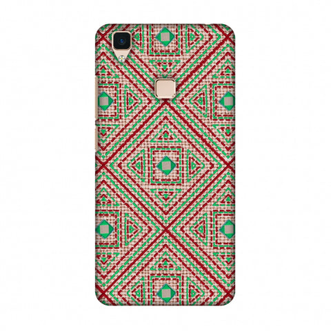 Geometric Kantha And Gujarati Mirrorwork - Beige And Red Slim Hard Shell Case For Vivo V3
