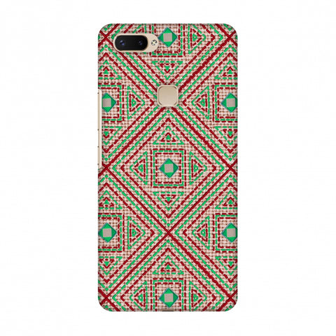 Geometric Kantha And Gujarati Mirrorwork - Beige And Red Slim Hard Shell Case For Vivo X20 Plus