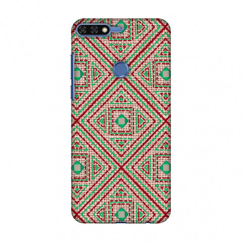 Geometric Kantha And Gujarati Mirrorwork - Beige And Red Slim Hard Shell Case For Huawei Honor 7C