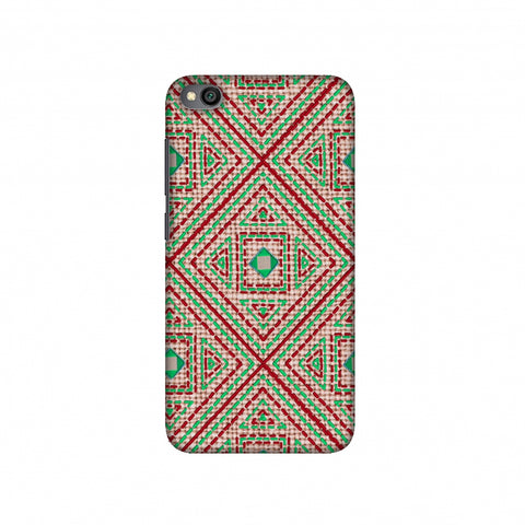 Geometric Kantha And Gujarati Mirrorwork - Beige And Red Slim Hard Shell Case For Redmi Go