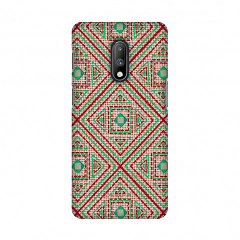 Geometric Kantha And Gujarati Mirrorwork - Beige And Red Slim Hard Shell Case For OnePlus 7