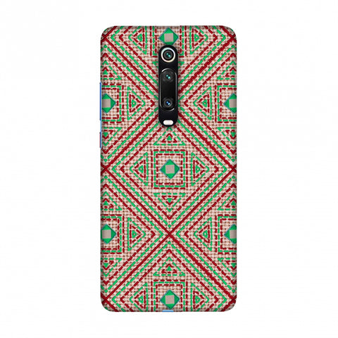 Geometric Kantha And Gujarati Mirrorwork - Beige And Red Slim Hard Shell Case For Redmi K20/K20 Pro