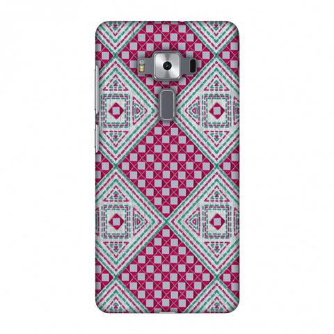 Kantha And Gujarati Mirrorwork Diamonds - Maroon And Silver Slim Hard Shell Case For Asus Zenfone 3 Deluxe ZS570KL
