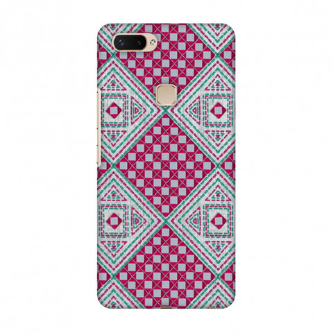 Kantha And Gujarati Mirrorwork Diamonds - Maroon And Silver Slim Hard Shell Case For Vivo X20 Plus