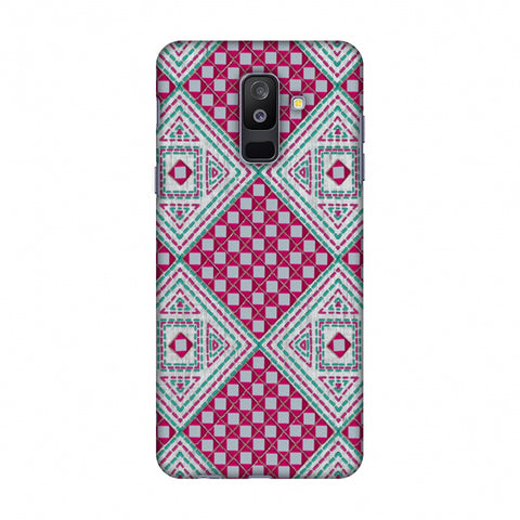 Kantha And Gujarati Mirrorwork Diamonds - Maroon And Silver Slim Hard Shell Case For Samsung Galaxy A6 Plus