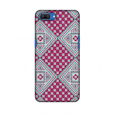 Kantha And Gujarati Mirrorwork Diamonds - Maroon And Silver Slim Hard Shell Case For Oppo Realme C1