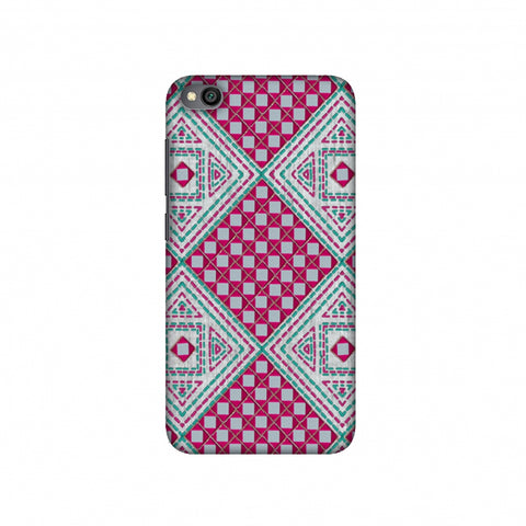 Kantha And Gujarati Mirrorwork Diamonds - Maroon And Silver Slim Hard Shell Case For Redmi Go