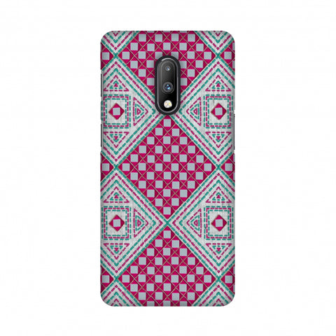Kantha And Gujarati Mirrorwork Diamonds - Maroon And Silver Slim Hard Shell Case For OnePlus 7