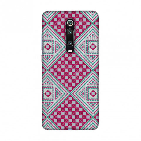 Kantha And Gujarati Mirrorwork Diamonds - Maroon And Silver Slim Hard Shell Case For Redmi K20/K20 Pro