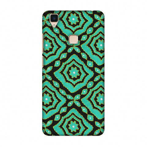 Kantha And Patchwork - Cyan Slim Hard Shell Case For Vivo V3