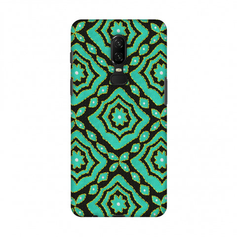 Kantha And Patchwork - Cyan Slim Hard Shell Case For OnePlus 6