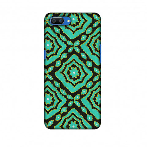 Kantha And Patchwork - Cyan Slim Hard Shell Case For Oppo Realme C1